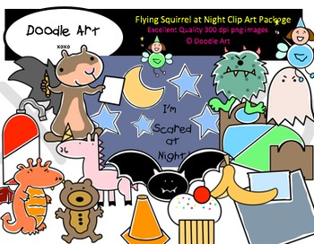 Flying Squirrel at Night Clipart Pack