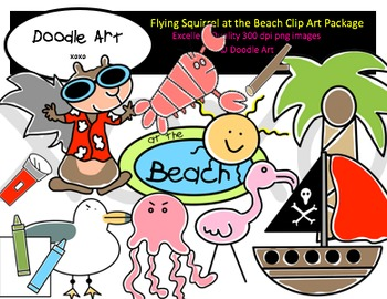 Flying Squirrel at the Beach Clipart Pack