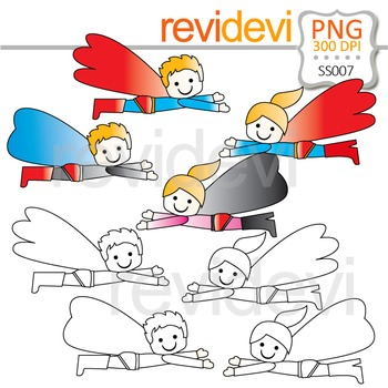 Flying Superhero Clipart / Blonde Superheroes Clip Art and Line Art