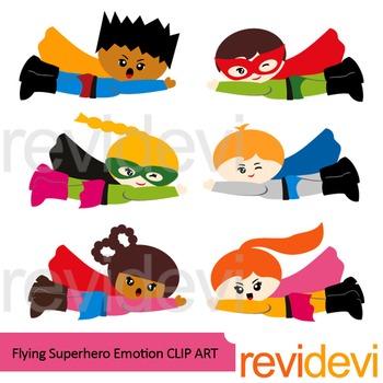 Flying Superhero clip art with emotions/ feelings