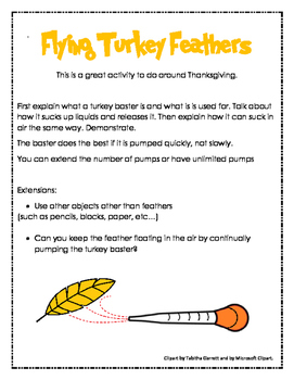 Flying Turkey Feathers (Thanksgiving turkey baster experiment data sheet)