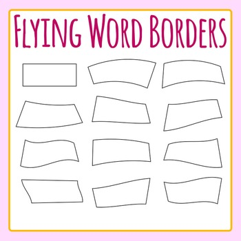 Flying Word Borders for Word Walls - Rectangular Borders Clip Art Commercial Use