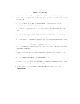 Flying and High Tide in Tucson Vocabulary Quiz Worksheet