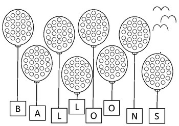 Flying balloons Art For Early Years Q Tip Painting Template Fine Motor Skills
