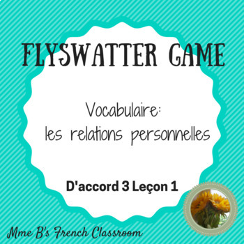 Flyswatter Game: D'accord 3 Leçon 1 vocabulary (adjectives)
