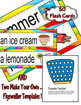 Flyswatter Game--SUMMER Themed 50 Word Vocabulary Game-ENGLISH Version