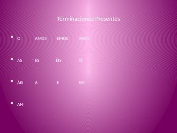 Flyswatter Game for Pronouns and -ar, -er, -ir verb endings