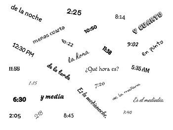 Flyswatter/ Matamoscas - Hear and Circle - Telling Time- La Hora - Spanish
