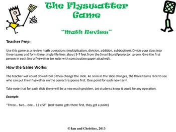 Math Review (Operations, Grade 3-5): Flyswatter Game