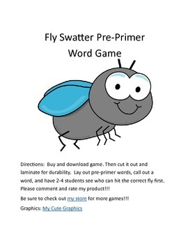 Flyswatter Pre-Primer Dolch Sight Word Game