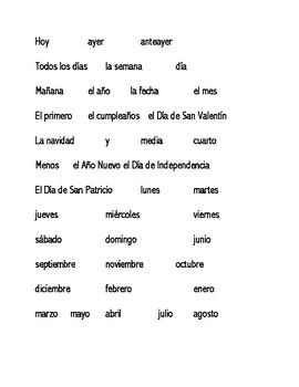 Flyswatter Preliminary Spanish 1 Vocabulary