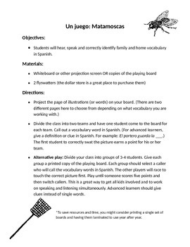 Flyswatter Spanish Family and Housing Vocabulary Game (Mat