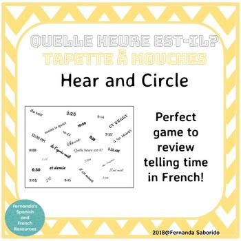 Flyswatter/ tapette à mouches - Hear and Circle - Telling Time- L'heure - French