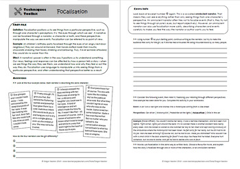 Focalisation (Point of View) - Techniques Toolkit - Worksheet and PowerPoint
