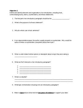 Focus Area Study Guide - 8 - Essay Structure