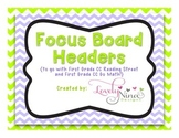 Focus Board Headers: 1st grade Reading Street & Go Math! Chevron Green & Purple