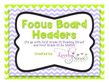 Focus Board Headers: 1st grade Reading Street & Go Math! Chevron Green & Purple