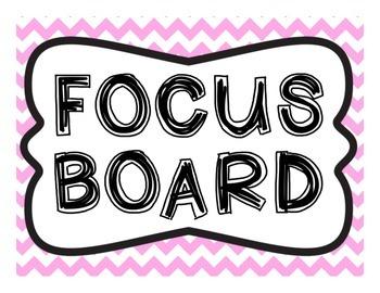 Focus Board Headers: 1st grade Reading Street & Go Math! Chevron Pink