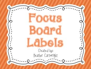 Focus Board Headers/Labels: Orange Polka Dot and Stripe