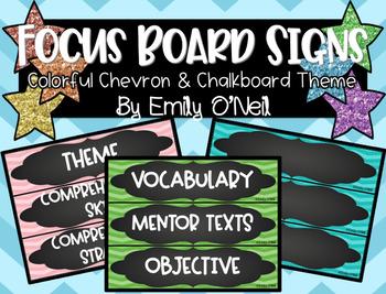 Focus Board Signs (Colorful Chevron & Chalkboard Theme)