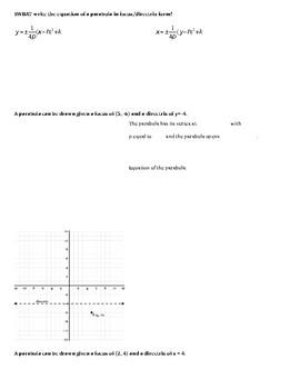 Focus & Directrix Form of a Parabola (Common Core)