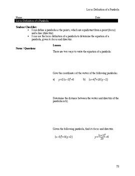 Focus & Directrix (Graphically) Notes