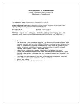 Focus Lesson MA.B. 1.1.2 Measurement-Capacity Using Measuring