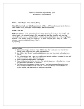 Focus Lesson MA.B.2.1.2 Measurement Time Minute