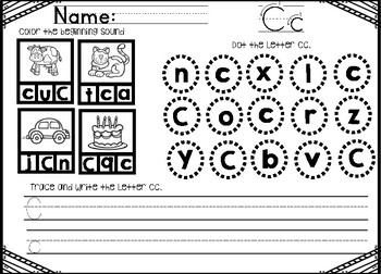 Focus Letter Writing and Sound Practice Freebie