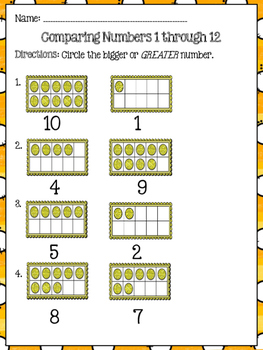 Focus Math - Book A Topic 1.2 - Grade 2 (Comparing Numbers 1-12)