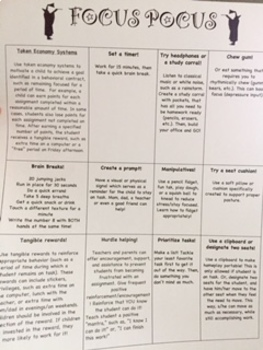 Focus Pocus! Strategy chart to help students focus!