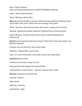 Focus Poetry Lesson