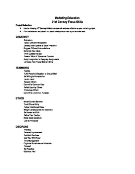 Focus Skills Word List for student project reflection and