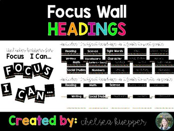 Focus Wall Bulletin Board Headings - Black + Brights