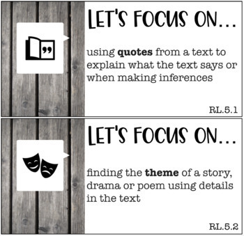 Focus Wall Cards - 5th Grade Reading Standards