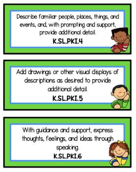 Focus Wall Cards - New Tennessee Standards English Language Arts Kindergarten