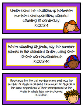 Focus Wall Cards - New Tennessee State Standards Math Kindergarten