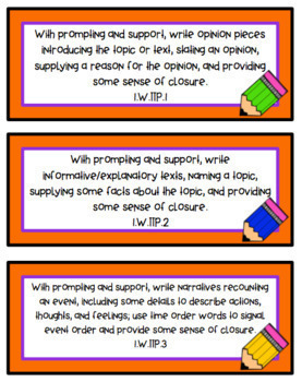 Focus Wall Cards - New Tennessee State Standards English Language Arts 1st Grade