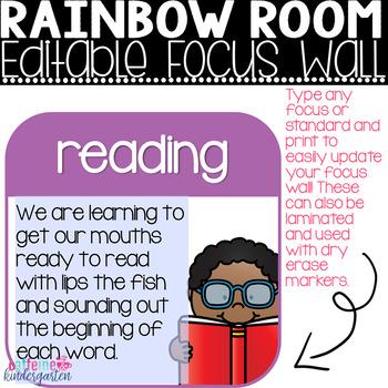 Focus Wall Classroom Decor - Rainbow Theme