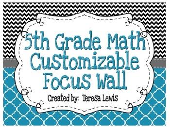 Focus Wall Customizable Black and Blue 5th Grade Math CCSS