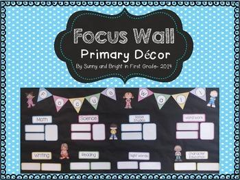 Focus Wall- Editable, Bright Class Decor- Display Standards