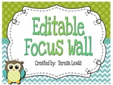 Focus Wall Customizable Turquoise and Green Owl Theme