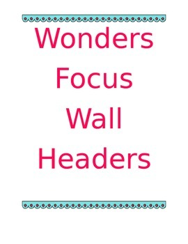 Focus Wall Headers - In Color
