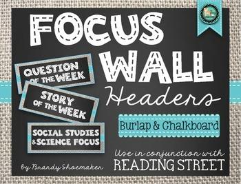 Focus Wall Headers (Reading Street): Burlap & Chalkboard