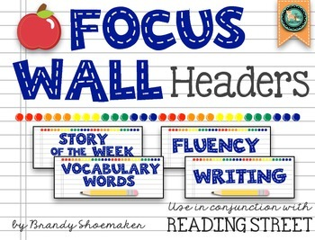 Focus Wall Headers (Reading Street): Primary Colors