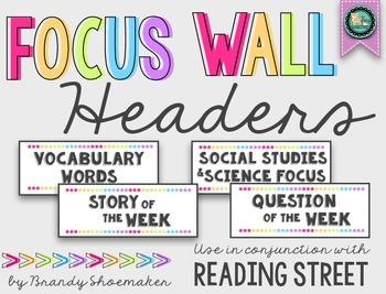 Focus Wall Headers (Reading Street): White & Brights