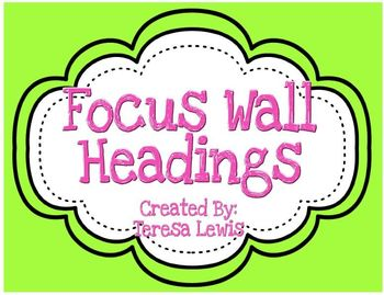 Focus Wall Headings Green and Pink