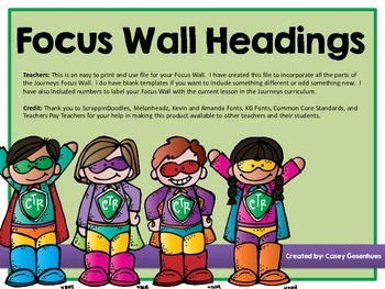 Focus Wall Headings (Superhero Edition)