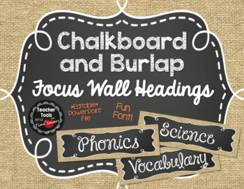 Focus Wall Headings in Burlap and Chalkboard - Whimsical Font - EDITABLE!