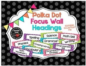Focus Wall Headings in Polka Dot - EDITABLE!